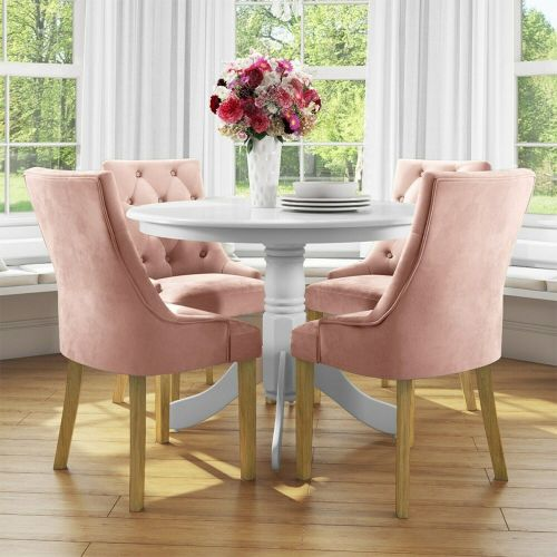 Small Round Dining Table with 4 Velvet Chairs