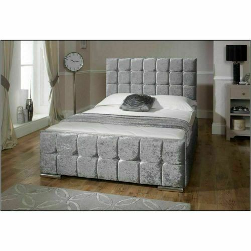 Modern Italian Designer Velvet Storage Bed - 2 Colours