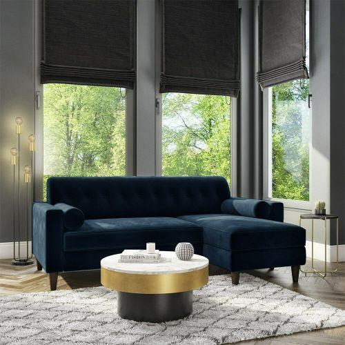 Idris Velvet Corner Sofa with Bolster Cushions - Navy Blue
