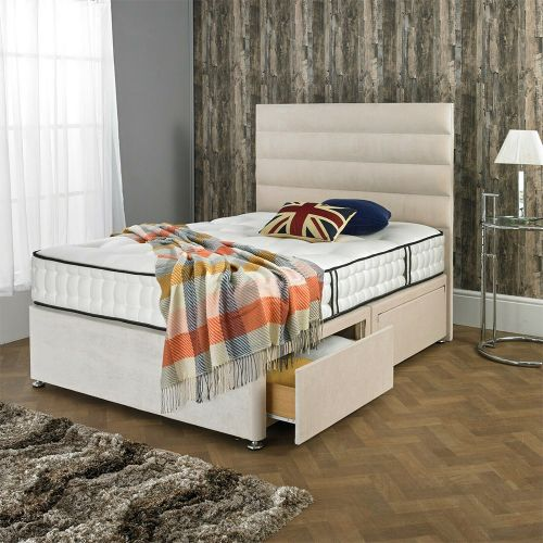 Classic Divan Bed Frame with Drawer Storage - Cream