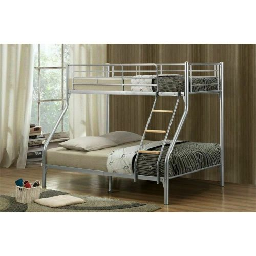 Modern Designer Metal Bunk Bed - Silver