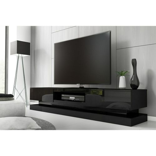 Evoque Large High Gloss TV Unit with LED Lighting - Black