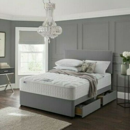 Divan Bed Frame with Drawer Storage - Grey