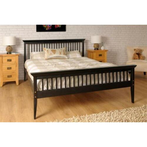 Shaker Style 4FT6 Double Wooden Bed Frame with Mattress Option - Chocolate
