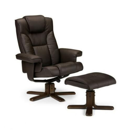 Stylish Reclining Faux Leather Chair with Footstool - 2 Colours