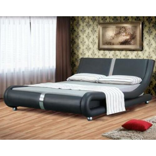 Italian Faux Leather Designer Strip Bed Frame with Mattress Option
