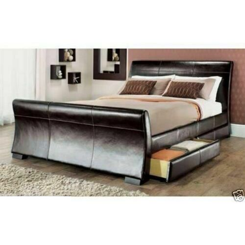 Fabulous Leather 4 Drawers Bed Frame - 2 Colours