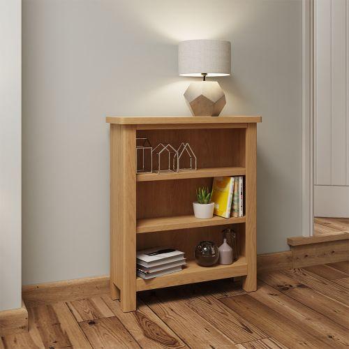 Herman Small Wide Bookcase - Rustic Oak