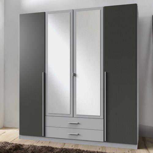 Husam 4 Door Mirrored Wardrobe - Grey