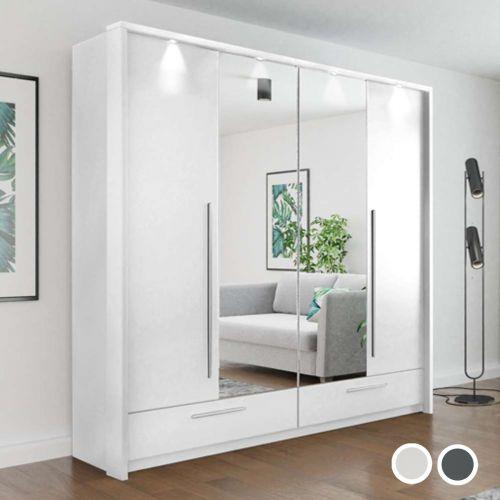 Tudela 210cm Folding Door Wardrobe - White and Grey