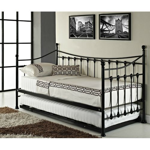 Versailles Metal Frame Single Daybed with Trundle - 2 Colours