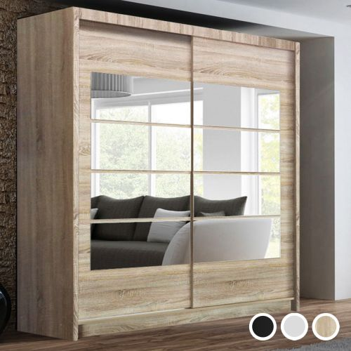 Torrentino Sliding Door Wardrobe - Black, White, Oak