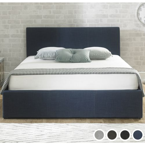 Stirling Fabric Ottoman Bed - Chambray Blue, Charcoal, Grey or Stone