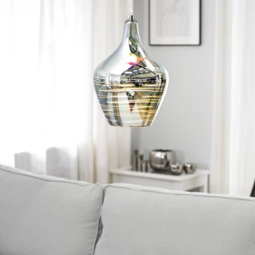 Sango Geometric Glass Pendant Lamp - Silver