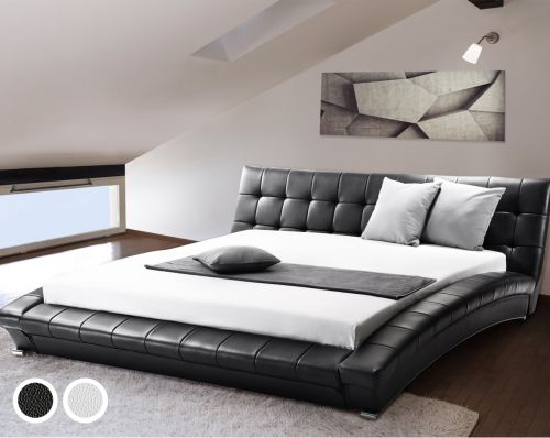 Lilie Leather Bed - Black & White
