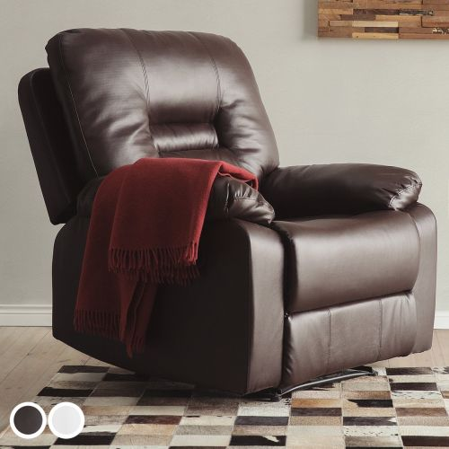 Bartan Faux Leather Reclining Armchair - Brown or White