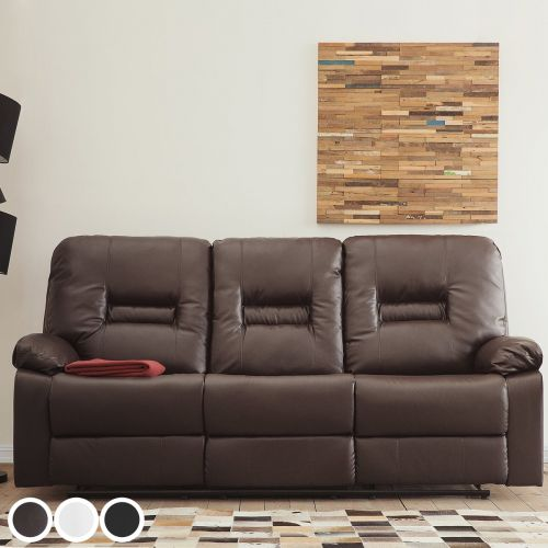 Bartan Faux Leather Reclining Sofa with 3 Seater - 3 Colours