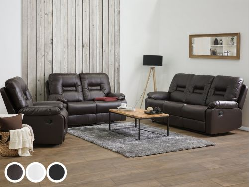 Bartan Faux Leather Reclining Living Room Set - 3 Colours