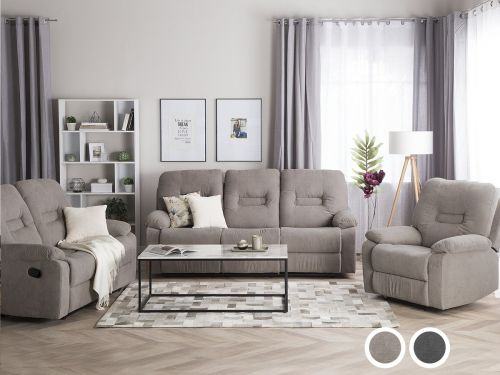 Bartan Fabric Reclining Living Room Set - Dark Grey or Taupe