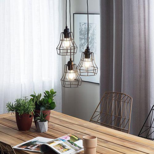 Pakwan 3 Light Metal Pendant Lamp - Black