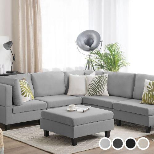 Fevi Fabric Modular Corner Sofa with Ottoman - 4 Colours