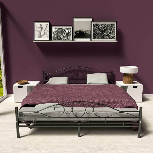 Modern Slatted Double Metal Bed Frame Black - Kingsize