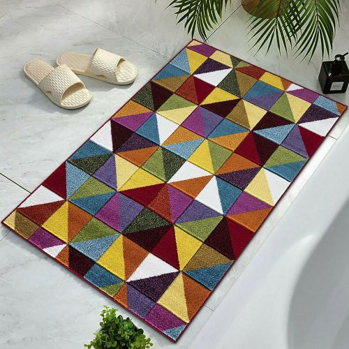 Non Slip Triangles Pattern Large Bathroom Mats - 60x110cm
