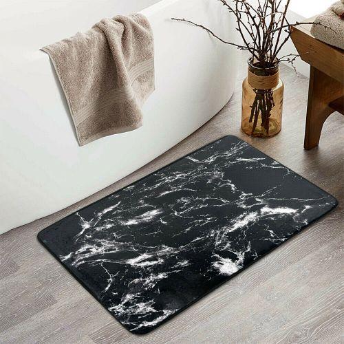 Black Marble Design Non Slip Soft Bath Mat - 50 x 80 cm