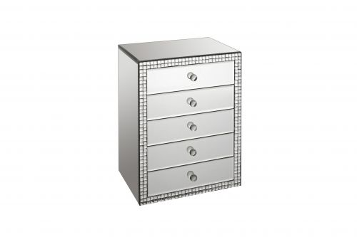 LPD Valentina 5 Drawer Mirrored Jewellery Storage Chest