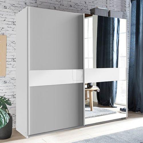Weimmar Mirrored Sliding Wardrobe - White and Grey