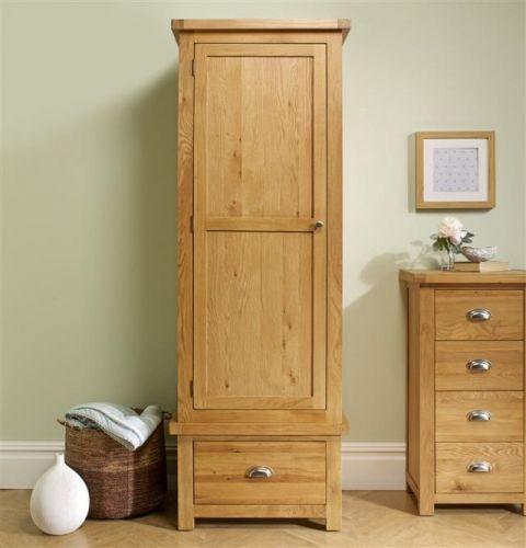Birlea Woburn Solid Oak 1 Door 1 Drawer Wardrobe