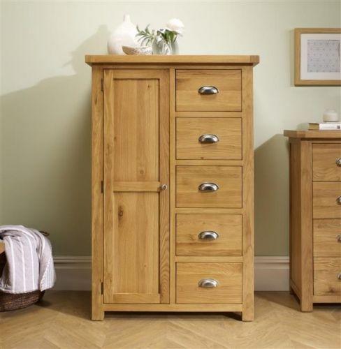 Birlea Woburn Solid Oak 1 Door 5 Drawer Wardrobe