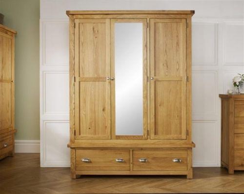 Birlea Woburn Solid Oak 3 Door 2 Drawer Mirrored Wardrobe
