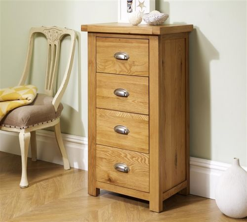 Birlea Woburn Narrow 4 Drawer Oak Storage Chest