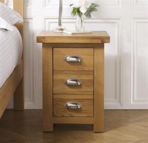 Birlea Woburn Small 3 Drawer Oak Bedside Table