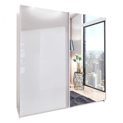 Mapple Matt Mirrored Sliding Wardrobe - White
