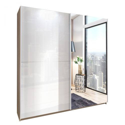Mapple Oak Mirrored Sliding Wardrobe -  White