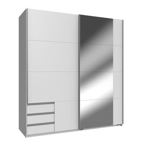 Enber Mirrored Sliding Wardrobe - White