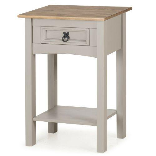 Corona Solid Pine Console Table 1 Drawer Hall - Grey Wax