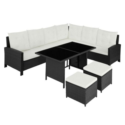 Poly Rattan UV-Resistant Lounge Sofa Set With Cushions - Black Colour