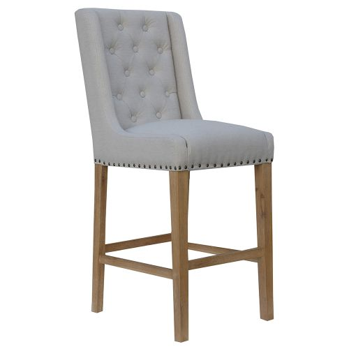 Button Back Stool with Studs - Natural