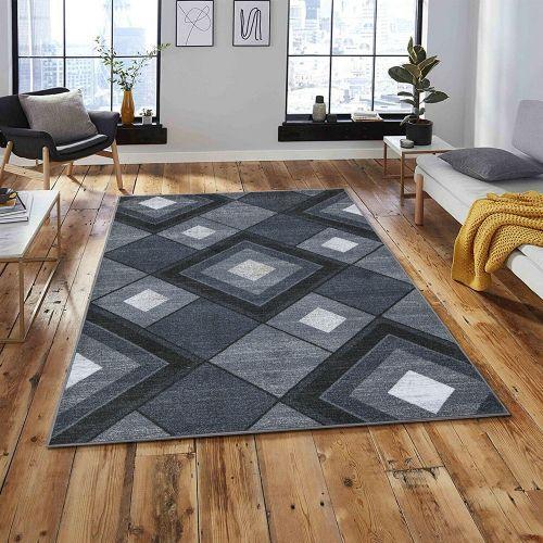 Soft Non Slip Geometric Large Rug Dark Grey Colour - 80x150 cm