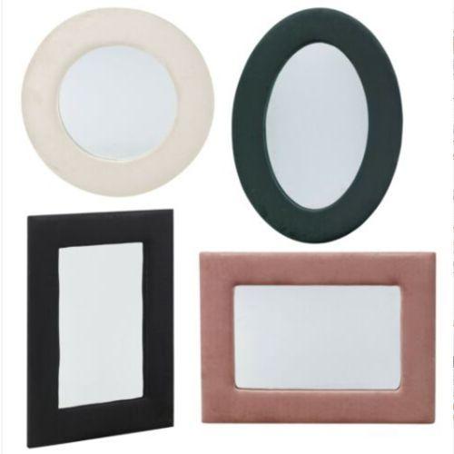 Velvet Frame Wall Mounted Mirror Various Colours - 3 Shape