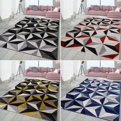 High Quality Non Slip Soft Thick Geometric Rugs 5 Colours - 6 Sizes