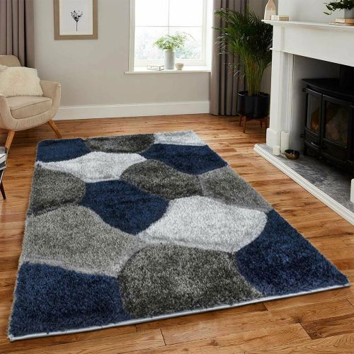 Elegant Thick Fluffy Non Slip Rugs Blue Grey Colour - 200 x 290 cm
