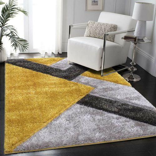 Anti Slip Living Room Fluffy Rug Thick Yellow - 160 x 230 cm