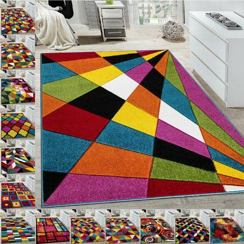 Luxury Geometric Non Slip Colourful Rugs Various Pattern - 5 Sizes