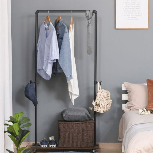 Movable Freestanding Clothes Hanging Rail With Hooks - Black