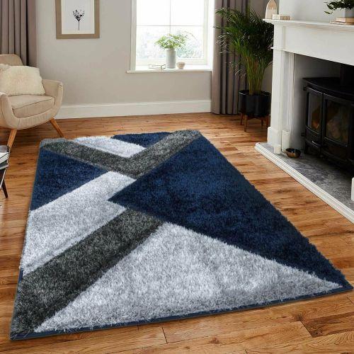 Anti Slip Deep Thick Pile Soft Rug Blue Grey Colour -160x230 cm