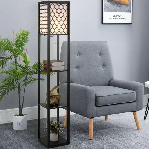 Modern Floor Lamp with 3 Tier Open Shelves - Black -White